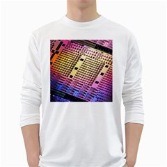 Optics Electronics Machine Technology Circuit Electronic Computer Technics Detail Psychedelic Abstra White Long Sleeve T Shirts