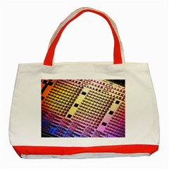 Optics Electronics Machine Technology Circuit Electronic Computer Technics Detail Psychedelic Abstra Classic Tote Bag (red)