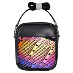 Optics Electronics Machine Technology Circuit Electronic Computer Technics Detail Psychedelic Abstra Girls Sling Bags