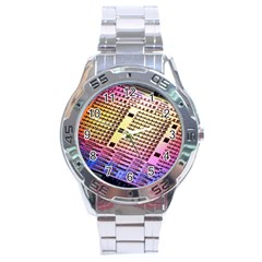 Optics Electronics Machine Technology Circuit Electronic Computer Technics Detail Psychedelic Abstra Stainless Steel Analogue Watch