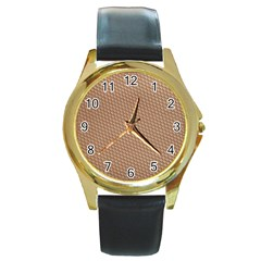 Tooling Patterns Round Gold Metal Watch