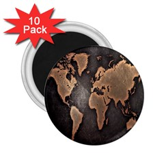 Grunge Map Of Earth 2 25  Magnets (10 Pack)