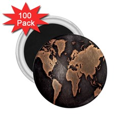 Grunge Map Of Earth 2 25  Magnets (100 Pack)