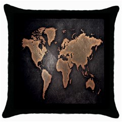 Grunge Map Of Earth Throw Pillow Case (black)