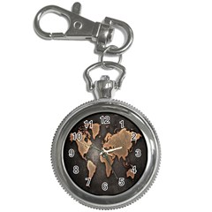 Grunge Map Of Earth Key Chain Watches