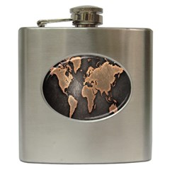 Grunge Map Of Earth Hip Flask (6 Oz)