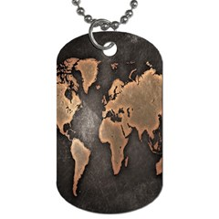 Grunge Map Of Earth Dog Tag (two Sides)