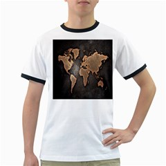 Grunge Map Of Earth Ringer T Shirts