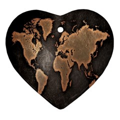 Grunge Map Of Earth Heart Ornament (two Sides)