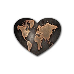 Grunge Map Of Earth Heart Coaster (4 Pack)