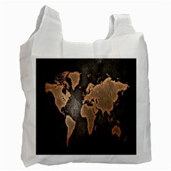 Grunge Map Of Earth Recycle Bag (two Side)