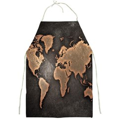 Grunge Map Of Earth Full Print Aprons