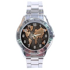Grunge Map Of Earth Stainless Steel Analogue Watch