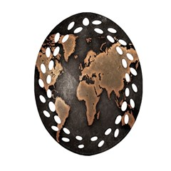Grunge Map Of Earth Oval Filigree Ornament (two Sides)