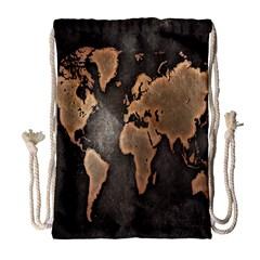 Grunge Map Of Earth Drawstring Bag (large)