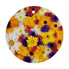 Colorful Flowers Pattern Ornament (round)