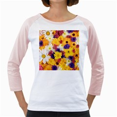 Colorful Flowers Pattern Girly Raglans