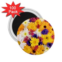 Colorful Flowers Pattern 2 25  Magnets (100 Pack)