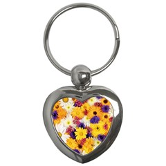 Colorful Flowers Pattern Key Chains (heart)