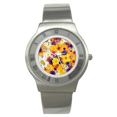 Colorful Flowers Pattern Stainless Steel Watch