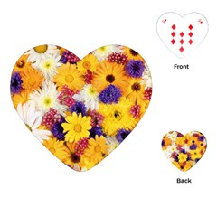 Colorful Flowers Pattern Playing Cards (heart)