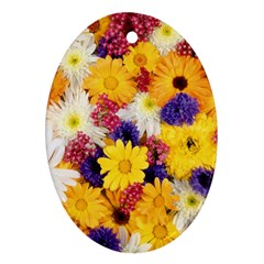 Colorful Flowers Pattern Oval Ornament (two Sides)
