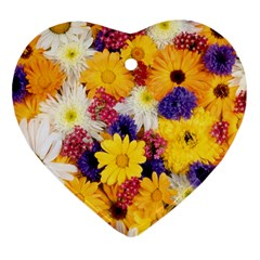 Colorful Flowers Pattern Heart Ornament (two Sides)