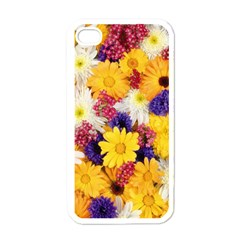 Colorful Flowers Pattern Apple Iphone 4 Case (white)