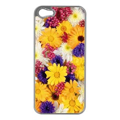 Colorful Flowers Pattern Apple Iphone 5 Case (silver)