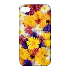 Colorful Flowers Pattern Apple Iphone 4/4s Hardshell Case With Stand
