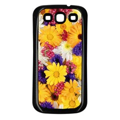 Colorful Flowers Pattern Samsung Galaxy S3 Back Case (black)