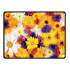 Colorful Flowers Pattern Double Sided Fleece Blanket (small)