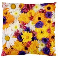 Colorful Flowers Pattern Large Flano Cushion Case (one Side)