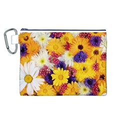 Colorful Flowers Pattern Canvas Cosmetic Bag (l)