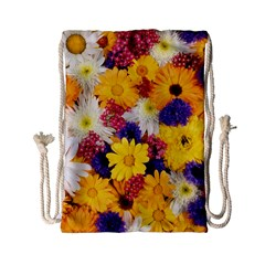 Colorful Flowers Pattern Drawstring Bag (small)