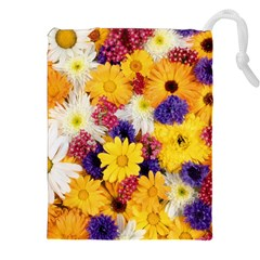Colorful Flowers Pattern Drawstring Pouches (xxl)