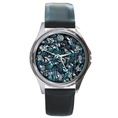 Old Spiderwebs On An Abstract Glass Round Metal Watch