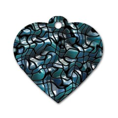 Old Spiderwebs On An Abstract Glass Dog Tag Heart (one Side)