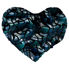 Old Spiderwebs On An Abstract Glass Large 19  Premium Flano Heart Shape Cushions