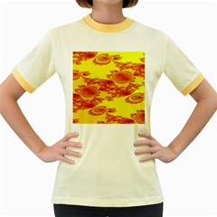 Floral Fractal Pattern Women s Fitted Ringer T Shirts