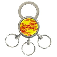 Floral Fractal Pattern 3 Ring Key Chains