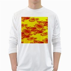 Floral Fractal Pattern White Long Sleeve T Shirts