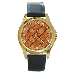 Vector Square Texture Pattern Round Gold Metal Watch