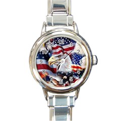 United States Of America Images Independence Day Round Italian Charm Watch