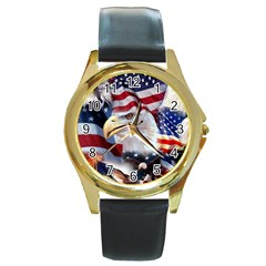 United States Of America Images Independence Day Round Gold Metal Watch