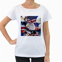 United States Of America Images Independence Day Women s Loose Fit T Shirt (white)