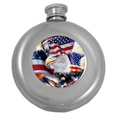 United States Of America Images Independence Day Round Hip Flask (5 Oz)