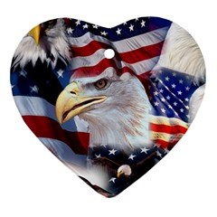 United States Of America Images Independence Day Heart Ornament (two Sides)