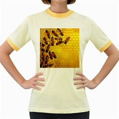 Honey Honeycomb Women s Fitted Ringer T Shirts