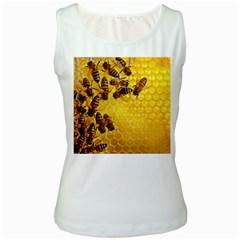 Honey Honeycomb Women s White Tank Top